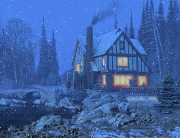 Зимние Обои с домом на видео