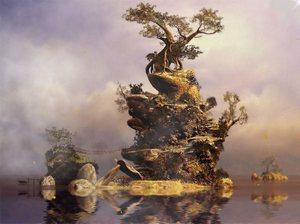 Магический остров с проросшим деревом на обоях