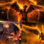 Огненный ангел на обоях